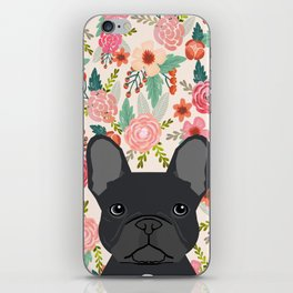French Bulldog floral dog head cute pet gifts dog breed frenchies iPhone Skin