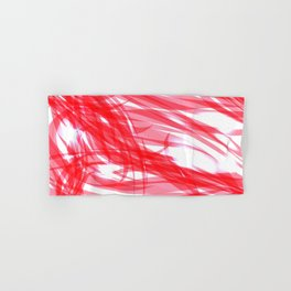 Red and smooth sparkling lines of pink ribbons on the theme of space and abstraction. Hand & Bath Towel