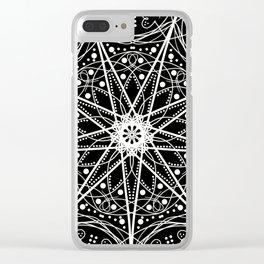 Mandala Black Spindle Clear iPhone Case