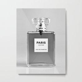 Perfume Bottle Print Black White Perfume Minimalistic Wall Art Fragrance Scent Fashion Poster Modern Metal Print
