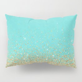 Sparkling gold glitter confetti on aqua teal damask background Pillow Sham