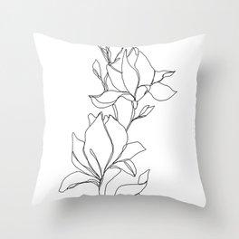 Botanical illustration line drawing - Magnolia Throw Pillow