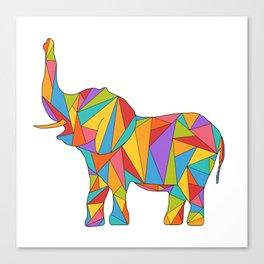 Big, bright, and colorful elephant - polychromatic animal Canvas Print