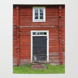 Old black cottage door Poster