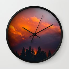 Bend Oregon: sunset & rainbow Wall Clock