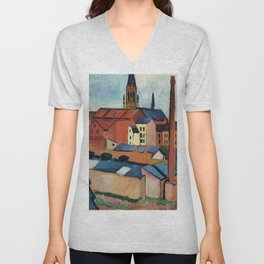 August Macke - St. Mary's with Houses and Chimney Unisex V-Neck