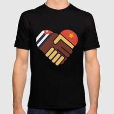Hands Of Friendship SMALL Black Mens Fitted Tee