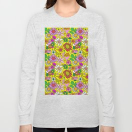 60's Lovers Floral in Sunshine Yellow Long Sleeve T-shirt