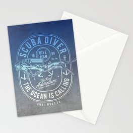 The Ocean Is Calling And I must Go Scuba Diving Stationery Cards