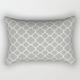Grey, Fog: Quatrefoil Clover Pattern Rectangular Pillow