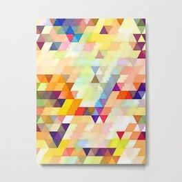 Multicolored Triangles Metal Print