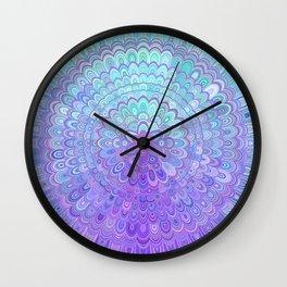 Mandala Flower in Light Blue and Purple Wall Clock