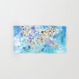Cartoon animal world map, back to school. Animals from all over the world, blue watercolour watercolor Hand & Bath Towel