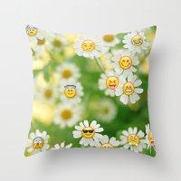 emoji Throw Pillows featuring Emoji Garden by jajoão