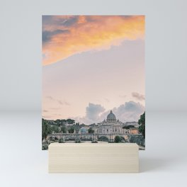 Angels Bridge and Saint Peters Basillica in Rome at Sunset | Ponte Sant Angelo over the Tiber River in Italy | Vatican City Travel Photography Europe Mini Art Print