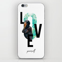 Modern Design, Love Yourself Quote, Self Care, Inspirational Quote, Double Exposure iPhone Skin