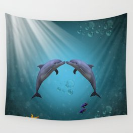 dolphins love Wall Tapestry