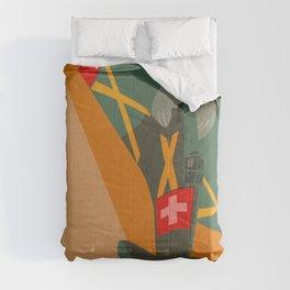 Swiss airplane poster, vintage D3801, ShreddyStudio Dennis Weber Comforters