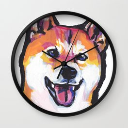 Shiba Inu Fun Dog Portrait bright colorful Pop Art Paintng by LEA Wall Clock