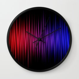 Colorful lines on black background Wall Clock