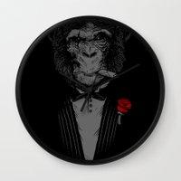 monkey Wall Clocks featuring Monkey Business by Alex Solis