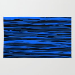 Slate Blue and Light Aqua Blue Stripes Rug