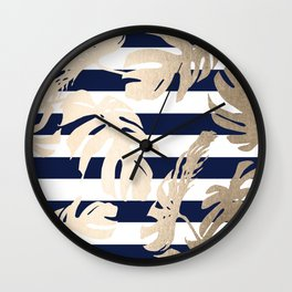 Simply Tropical Palm Leaves on Navy Stripes Wall Clock