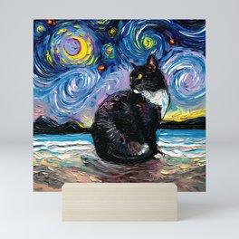 Tuxedo Cat on a Beach on a Starry Night Mini Art Print