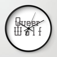 queer Wall Clocks featuring Queer Wolf by Hello Free Spirits