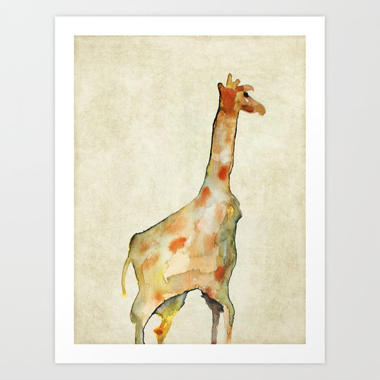 old camouflage giraffe Art Print