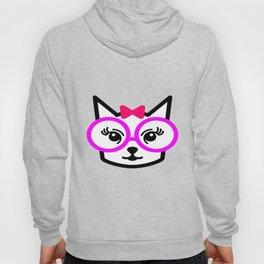 Cute Cat Girl Wearing Glasses Hoody