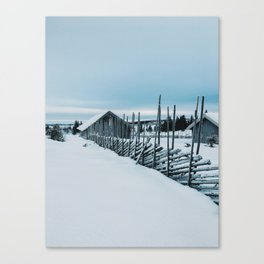 Remote Cabins in White Norwegian Winter Landscape Canvas Print