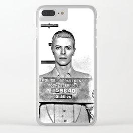 Bowie, David Mugshot (1976) Rochester, N.Y. Clear iPhone Case