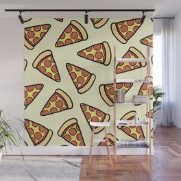 Pepperoni Pizza Pattern Wall Mural
