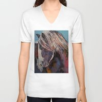 pony V-neck T-shirts featuring Highland Pony by Michael Creese