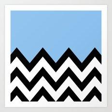 BLUE COLORBLOCK CHEVRON Art Print