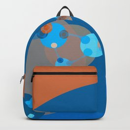 constance - bright abstract design of orange blue grey and aquamarine Backpack