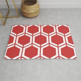 Madder Lake - red - Geometric Polygon Pattern Rug