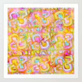Rainbow Pastel Abstract Typography Watercolor Painting Art Print