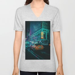 Taxi in the City (Color) Unisex V-Neck