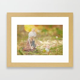doll taking photo of cute pig and cow erasers  Framed Art Print