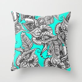 Boho black white hand drawn floral doodles pattern turquoise Throw Pillow