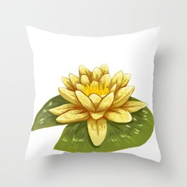 Cute Yellow Lily Pad Throw Pillow