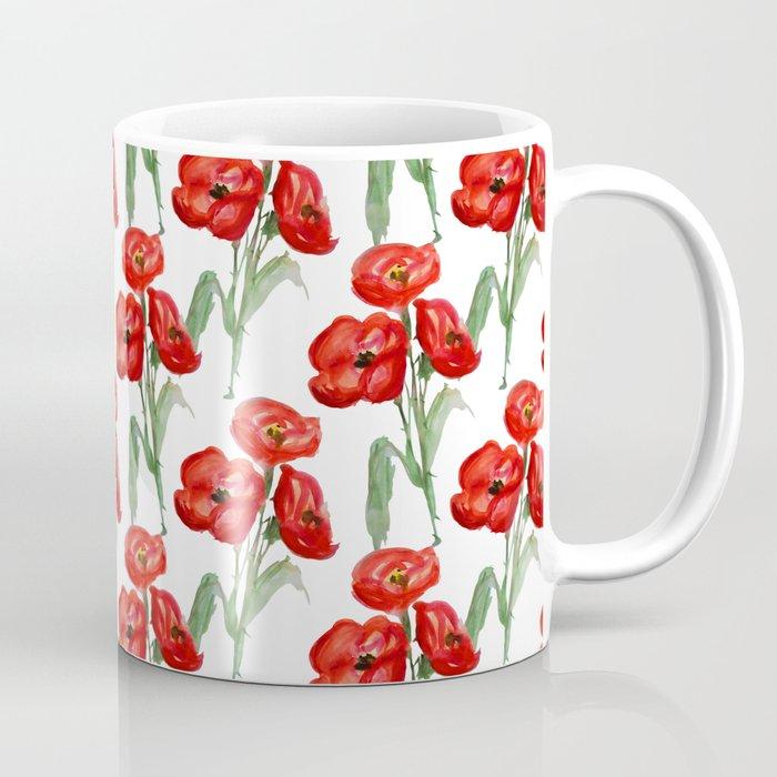 Watercolor Red Poppies Coffee Mug