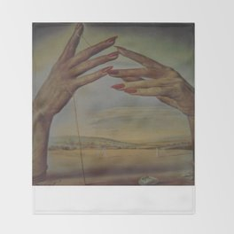 PORTRAIT OF A PASSIONATE WOMAN  (The Hands)  by Salvador Dali Throw Blanket
