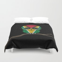 Baby Owl with Glasses and Guyanese Flag Duvet Cover