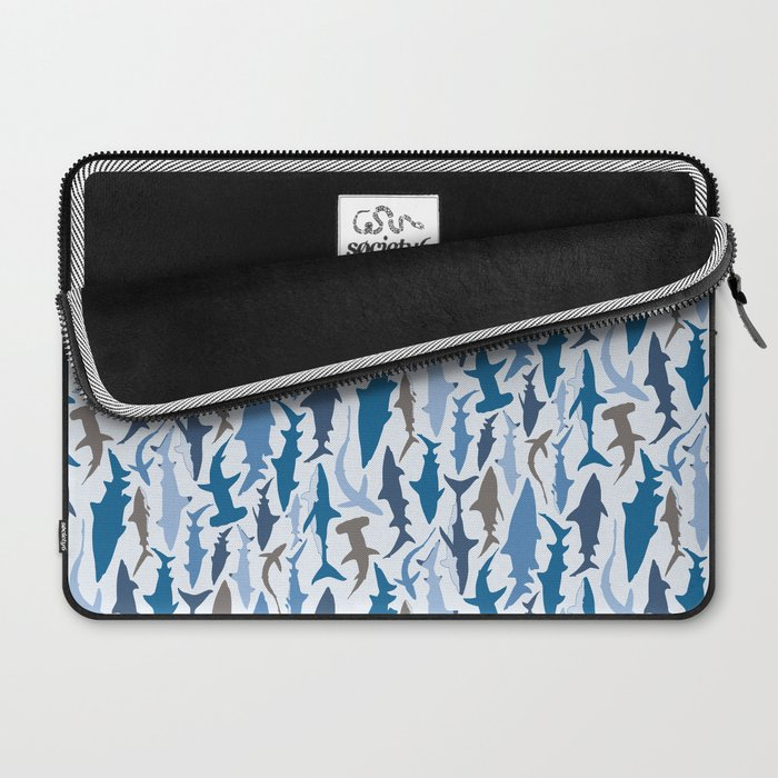 Swimming with Sharks in Blue and Grey Laptop Sleeve