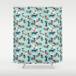 Hot dogs and lemonade // aqua background navy dachshunds Shower Curtain