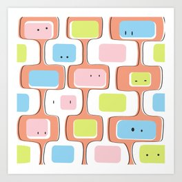 Retro geometric faces Art Print