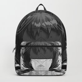 Beautiful Fractal Feathers for Major Motoko in Black and White Backpack